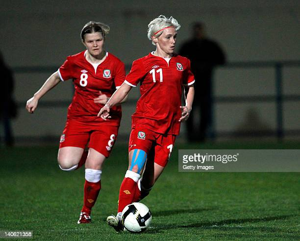 Jessica Fishlock and Michelle Green of Wales during the Women Algarve Cup match between Wales and Ireland on March 2 2012 in Ferreiras Portugal