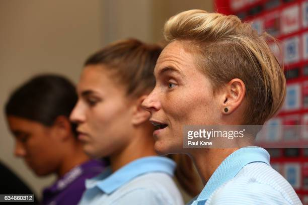 Jessica Fishlock head coach of Melbourne City talks with the media during the WLeague Grand Final media opportunity at nib Stadium on February 11...
