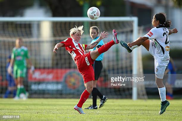 Jessica Fishlock of City and Samantha Kerr of the Glory contest for the ball during the round three WLeague match between Perth Glory and Melbourne...