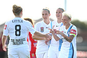 Jessica Fishlock of City celebrates with Kim Little after scoring the second goal during the round five WLeague match between Melbourne Cty FC and...