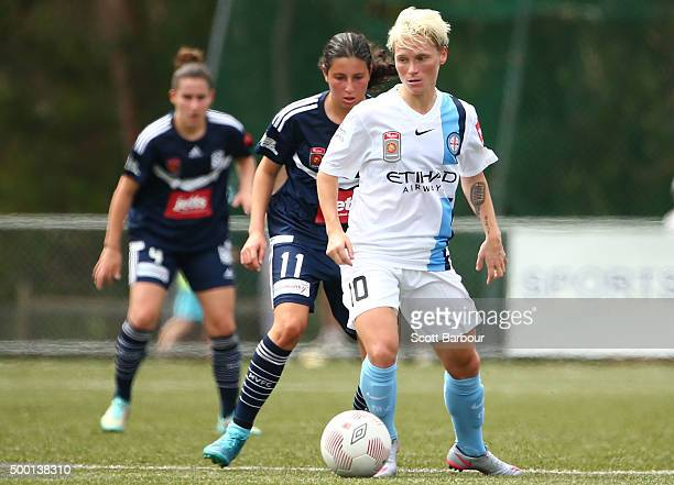 Jessica Fishlock of City controls the ball during the round eight WLeague match between the Melbourne Victory and Melbourne City FC at Veneto Club on...