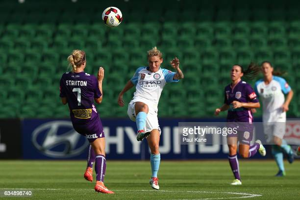 Jessica Fishlock of Melbourne City and Nicole Stanton of the Perth Glory contest for the ball during the 2017 WLeague Grand Final match between the...
