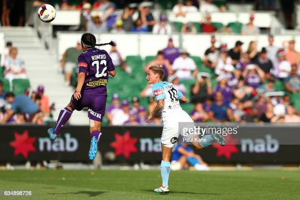 Jessica Fishlock of Melbourne City attempts to head the ball for a goal during the 2017 WLeague Grand Final match between the Perth Glory and...