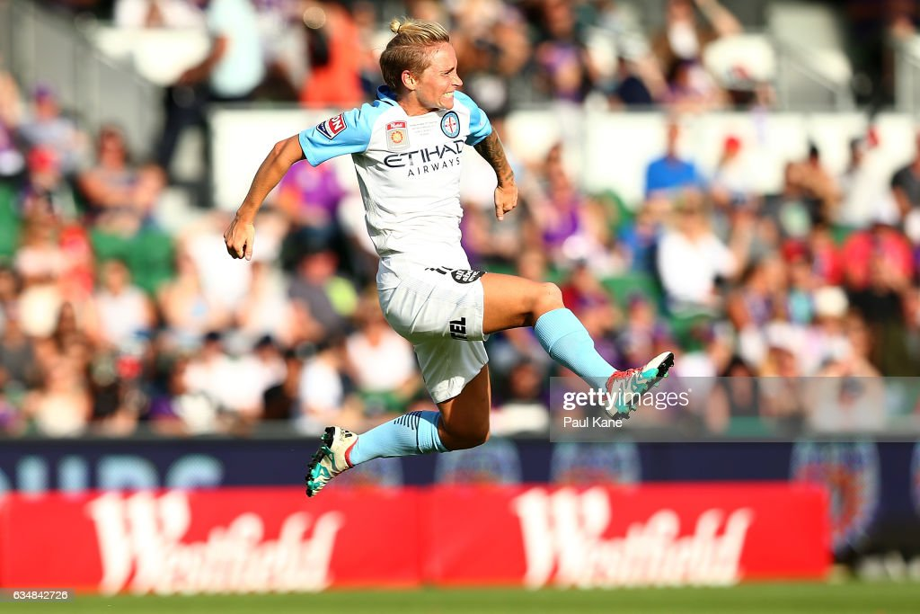 Jessica Fishlock of Melbourne City celebrates a goal during the 2017 W-League Grand Final match between the Perth Glory and Melbourne City FC at nib Stadium on February 12, 2017 in Perth, Australia.