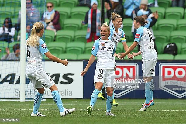 Jessica Fishlock of Melbourne City celebrates her goal with her teammates during the round four ALeague match between Melbourne City FC and Melbourne...