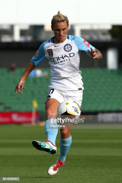 Jessica Fishlock of Melbourne City traps the ball during the 2017 WLeague Grand Final match between the Perth Glory and Melbourne City FC at nib...