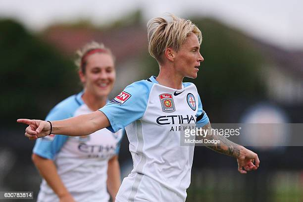 Jessica Fishlock of the City celebrates a goal during the round 10 WLeague match between Melbourne City and Adelaide at CB Smith Reserve on January 2...