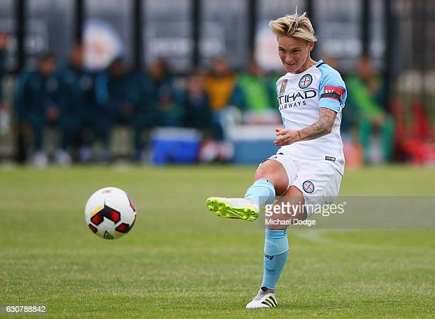 Jessica Fishlock of the City kicks the ball during the round 10 WLeague match between Melbourne City and Adelaide at CB Smith Reserve on January 2...