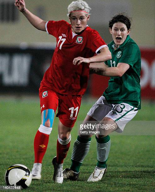 Jessica Fishlock of Wales challenges Shannon Smith of Ireland during the Women Algarve Cup match between Wales and Ireland on March 2 2012 in...