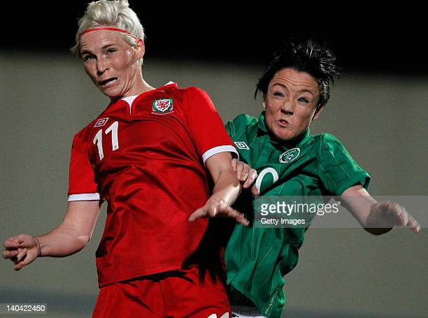Jessica Fishlock of Wales challenges Stephanie Roche of Ireland during the Women Algarve Cup match between Wales and Ireland on March 2 2012 in...
