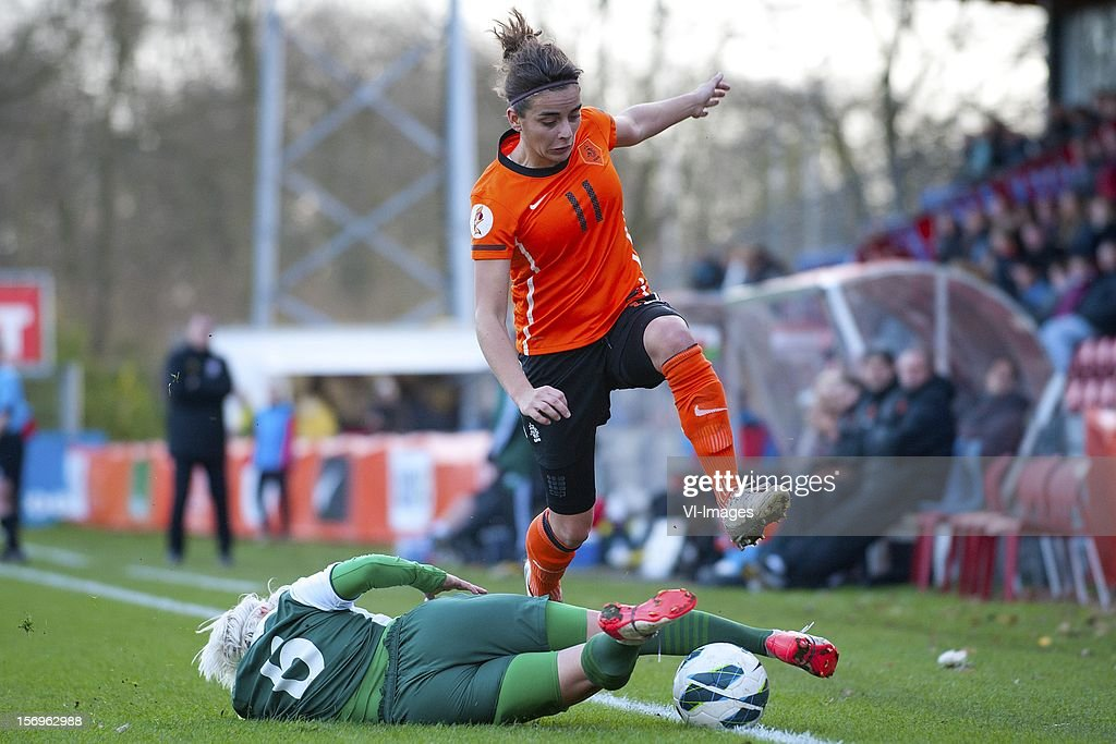 Jessica Fishlock of Wales, Renée Slegers of Holland during the Women's international friendly match between Netherlands and Wales, at Tata steel stadium on November 25, 2012 in Velzen-Zuid, Netherlands.