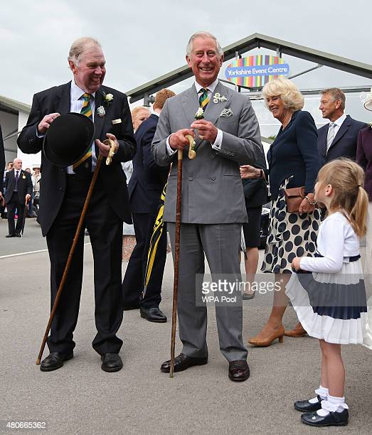 Jessica Fox aged four after presenting Prince Charles Prince of Wales with a white rose buttonhole as he attends The Great Yorkshire Show on July 14...