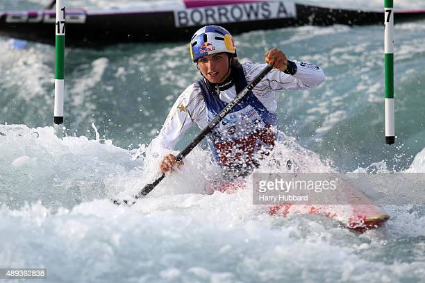 Jessica Fox of Australia in action during the Womens Team Final Canoe at Lee Valley White Water Centre at Lee Valley White Water Centre on September...