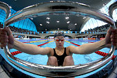 Jessica Fullalove of Manchester Aquatics prepares to start her Women's 200m Backstroke heat on day five of the British Swimming Championships at the...