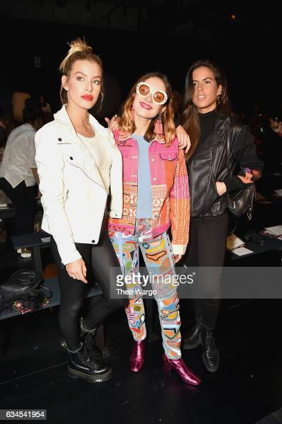 Jessica Goicoechea and Miranda Makaroff attend the Desigual fashion show during New York Fashion Week at Gallery 1 Skylight at Clarkson Sq on...