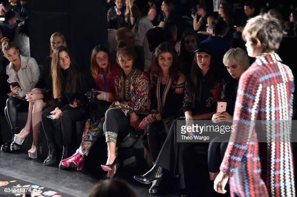 Jessica Goicoechea Miranda Makaroff Berta Vazquez Anna Cleveland and Julia Cumming attend the Desigual fashion show during New York Fashion Week at...