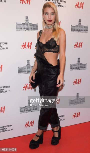 Jessica Goicoechea poses during a photocall for the new HM flagship store opening on February 1 2017 in Barcelona Spain