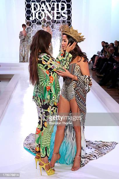 Jessica Gomes and Camilla Frank embrace after the David Jones Spring/Summer 2013 Collection Launch at David Jones Elizabeth Street on July 31 2013 in...