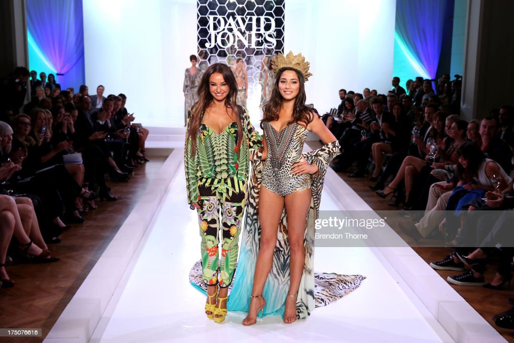 Jessica Gomes and Camilla Frank pose after the David Jones Spring/Summer 2013 Collection Launch at David Jones Elizabeth Street on July 31, 2013 in Sydney, Australia.
