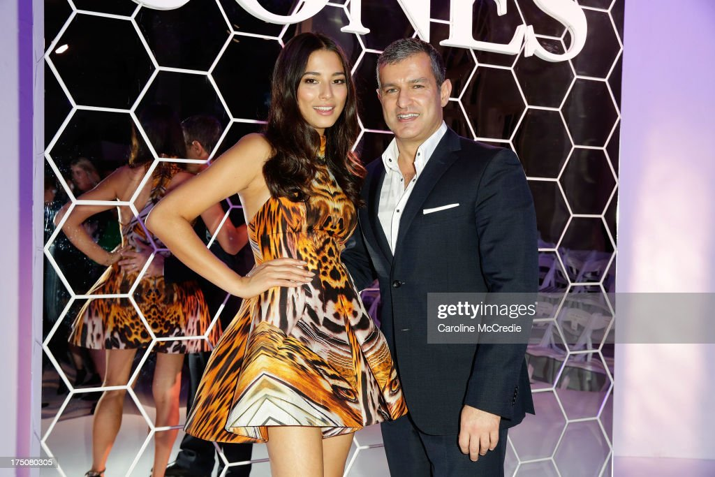 Jessica Gomes and CEO David Jones Paul Zahra pose after the David Jones Spring/Summer 2013 Collection Launch at David Jones Elizabeth Street on July 31, 2013 in Sydney, Australia.