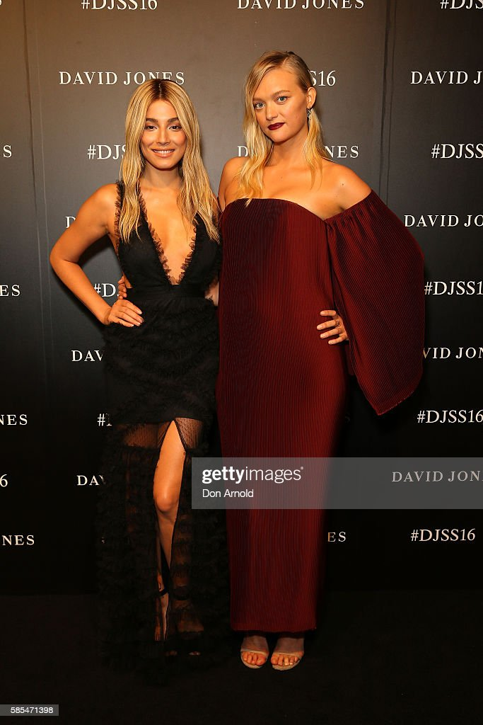Jessica Gomes and Gemma Ward arrive ahead of the David Jones Spring/Summer 2016 Fashion Launch at Fox Studios on August 3 2016 in Sydney Australia