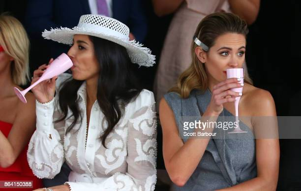 Jessica Gomes and Jesinta Franklin attend the David Jones Marquee on Caulfield Cup Day at Caulfield Racecourse on October 21 2017 in Melbourne...