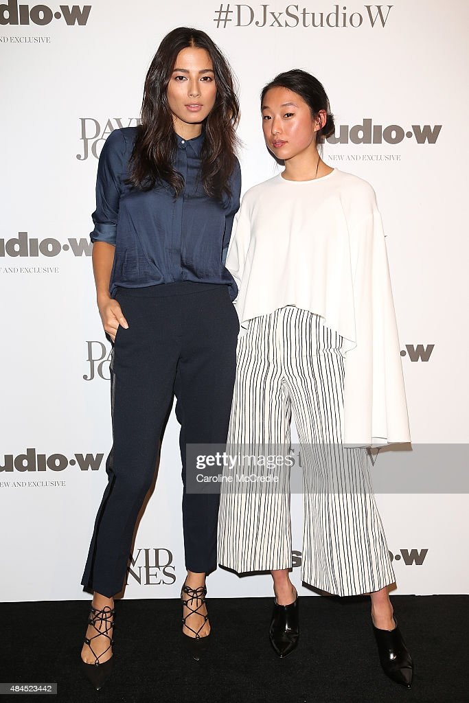 Jessica Gomes and Margaret Zhang arrive ahead of the StudioW launch at David Jones Elizabeth Street Store on August 20 2015 in Sydney Australia