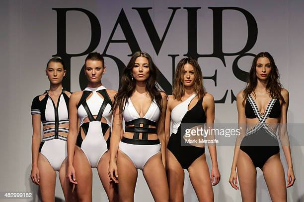 Jessica Gomes and models showcase designs by Jets on the runway at the David Jones Spring/Summer 2015 Fashion Launch at David Jones Elizabeth Street...