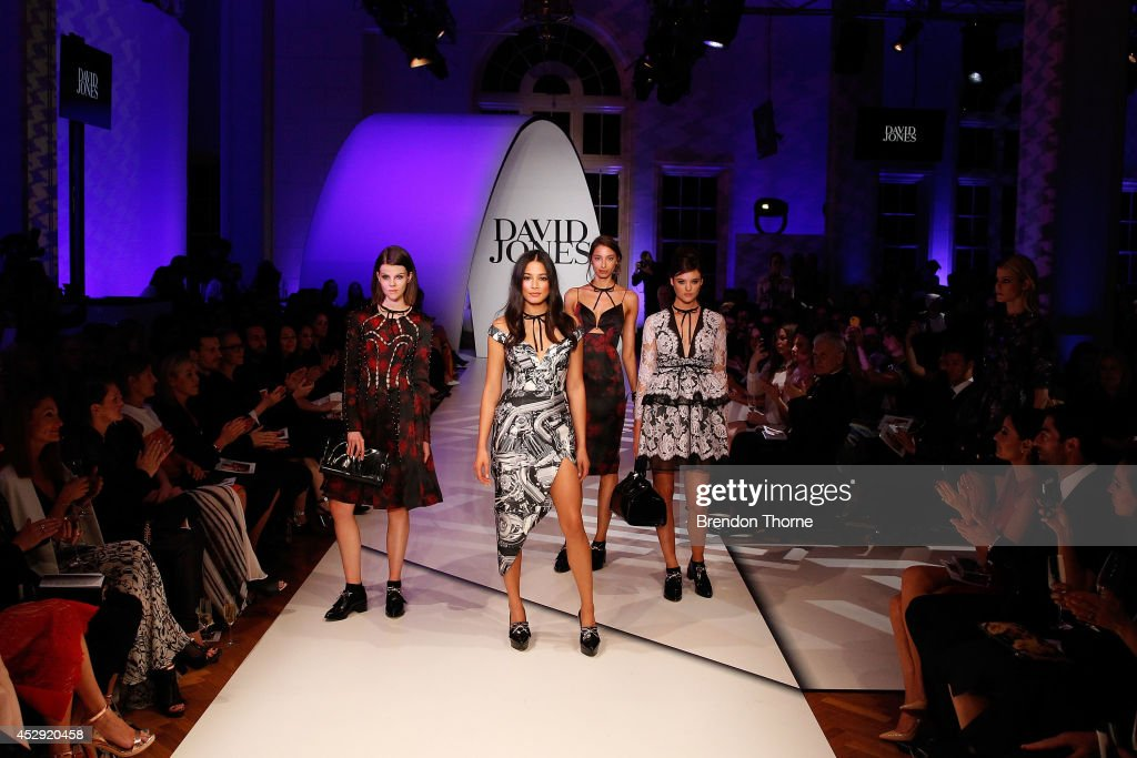 <a gi-track='captionPersonalityLinkClicked' href=/galleries/search?phrase=Jessica+Gomes&family=editorial&specificpeople=4319063 ng-click='$event.stopPropagation()'>Jessica Gomes</a> and models showcases designs by Zimmerman at the David Jones Spring/Summer 2014 Collection Launch at David Jones Elizabeth Street Store on July 30, 2014 in Sydney, Australia.