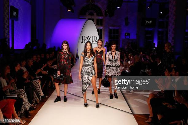 Jessica Gomes and models showcases designs by Zimmerman at the David Jones Spring/Summer 2014 Collection Launch at David Jones Elizabeth Street Store...