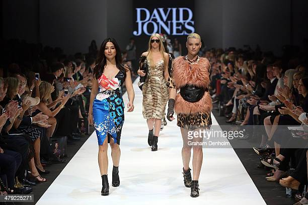 Jessica Gomes and Montana Cox walk the finale during the 2014 Virgin Australia Melbourne Fashion Festival Opening Event presented by David Jones at...
