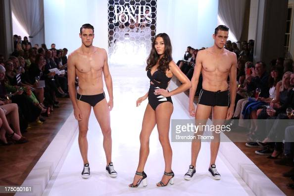 Jessica Gomes and Zac and Jordan Stenmark showcases designs by Jets at the David Jones Spring/Summer 2013 Collection Launch at David Jones Elizabeth...