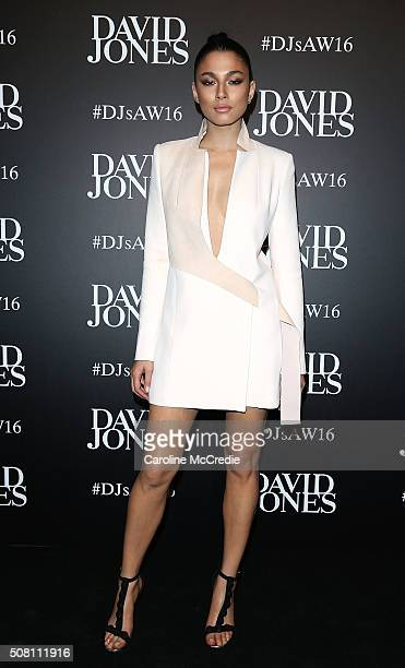 Jessica Gomes arrives ahead of the David Jones Autumn/Winter 2016 Fashion Launch at David Jones Elizabeth Street Store on February 3 2016 in Sydney...