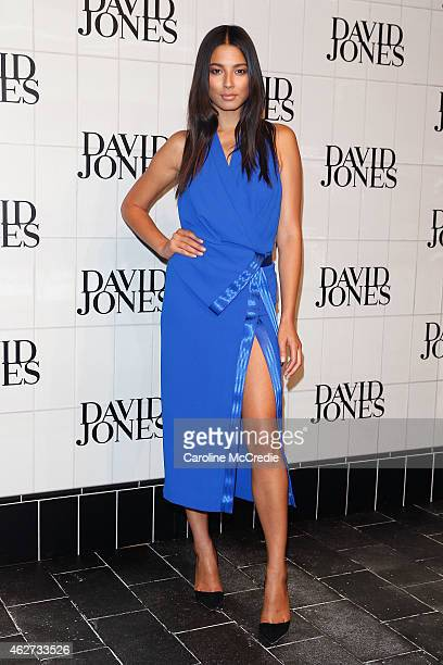 Jessica Gomes arrives at the David Jones Autumn/Winter 2015 Collection Launch at David Jones Elizabeth Street Store on February 4 2015 in Sydney...
