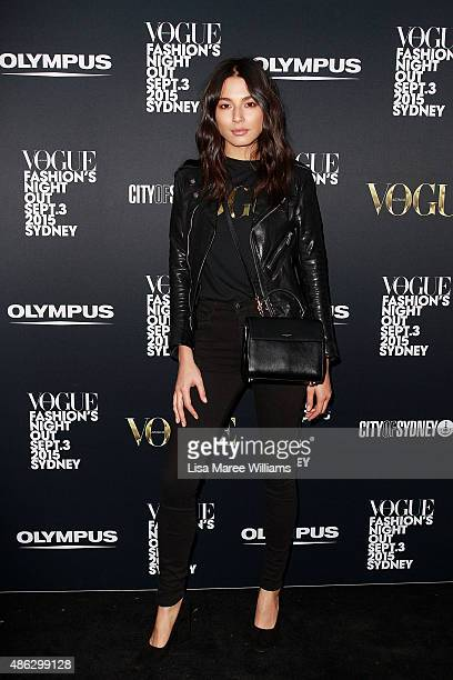 Jessica Gomes arrives at Vogue Fashion's Night Out on September 3 2015 in Sydney Australia
