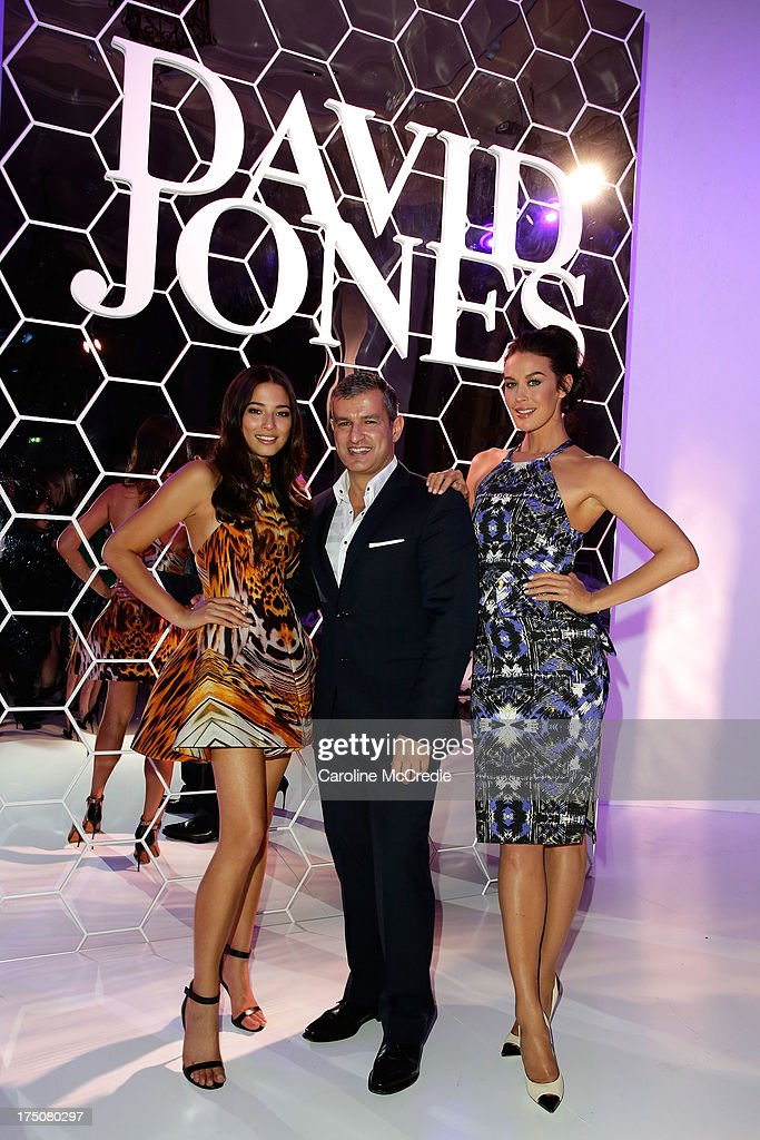 Jessica Gomes, CEO David Jones Paul Zahra and Megan Gale pose after the David Jones Spring/Summer 2013 Collection Launch at David Jones Elizabeth Street on July 31, 2013 in Sydney, Australia.