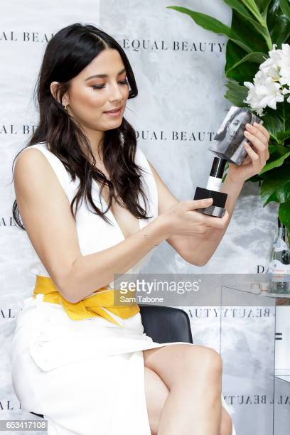 Jessica Gomes during the launch of 'Equal Beauty' beauty line at David Jones Bourke Street on March 15 2017 in Melbourne Australia