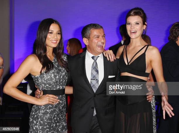Jessica Gomes Paul Zahra and Montana Cox pose after the David Jones Spring/Summer 2014 Collection Launch at David Jones Elizabeth Street Store on...