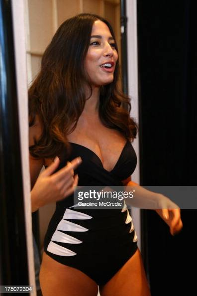 Jessica Gomes prepares backstage ahead of the David Jones Spring/Summer 2013 Collection Launch at David Jones Elizabeth Street on July 31 2013 in...