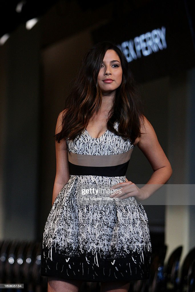 Jessica Gomes showcases designs by Alex Perry during rehearsal ahead of the David Jones A/W 2013 Season Launch at David Jones Castlereagh Street on February 6, 2013 in Sydney, Australia.
