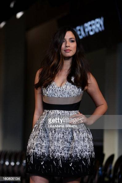 Jessica Gomes showcases designs by Alex Perry during rehearsal ahead of the David Jones A/W 2013 Season Launch at David Jones Castlereagh Street on...