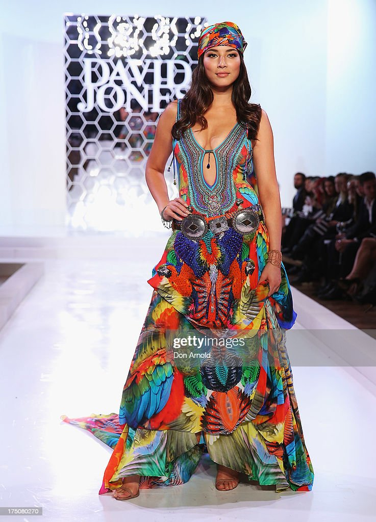 Jessica Gomes showcases designs by Camilla at the David Jones Spring/Summer 2013 Collection Launch at David Jones Elizabeth Street on July 31, 2013 in Sydney, Australia.