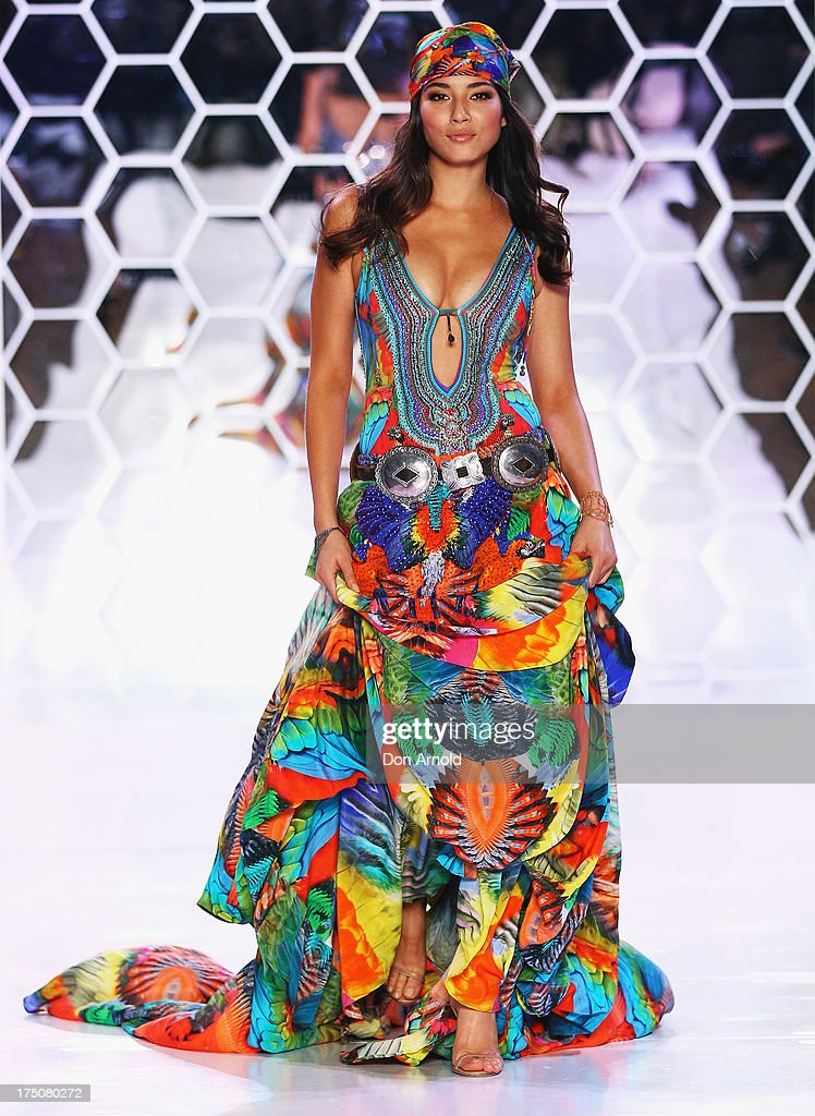 <a gi-track='captionPersonalityLinkClicked' href=/galleries/search?phrase=Jessica+Gomes&family=editorial&specificpeople=4319063 ng-click='$event.stopPropagation()'>Jessica Gomes</a> showcases designs by Camilla at the David Jones Spring/Summer 2013 Collection Launch at David Jones Elizabeth Street on July 31, 2013 in Sydney, Australia.