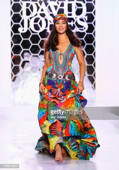 Jessica Gomes showcases designs by Camilla during a rehearsal ahead of the David Jones Spring/Summer 2013 Collection Launch at David Jones Elizabeth...
