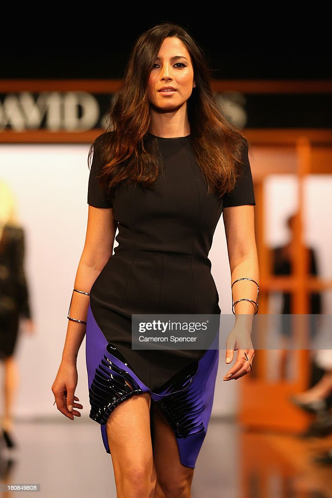 Jessica Gomes showcases designs by Dion Lee on the runway during the David Jones A/W 2013 Season Launch at David Jones Castlereagh Street on February 6, 2013 in Sydney, Australia.