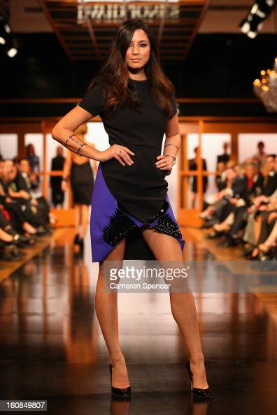 Jessica Gomes showcases designs by Dion Lee on the runway during the David Jones A/W 2013 Season Launch at David Jones Castlereagh Street on February...