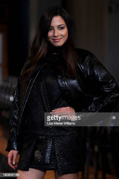Jessica Gomes showcases designs by Ellery during rehearsal ahead of the David Jones A/W 2013 Season Launch at David Jones Castlereagh Street on...
