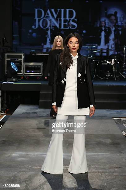 Jessica Gomes showcases designs by Ellery during rehearsal ahead of the David Jones Spring/Summer 2015 Fashion Launch at David Jones Elizabeth Street...