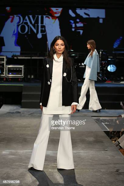 Jessica Gomes showcases designs by Ellery on the runway at the David Jones Spring/Summer 2015 Fashion Launch at David Jones Elizabeth Street Store on...