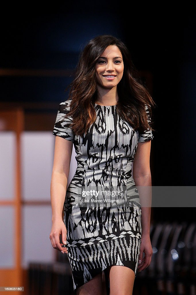 Jessica Gomes showcases designs by Ginger & Smart during rehearsal ahead of the David Jones A/W 2013 Season Launch at David Jones Castlereagh Street on February 6, 2013 in Sydney, Australia.